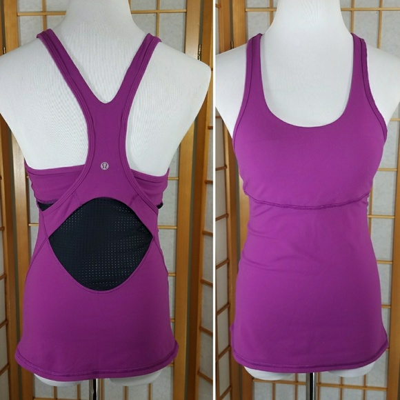 77b8d6505d614 lululemon athletica Tops - Lululemon purple cross back tank with mesh